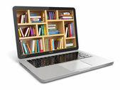 Fotografie e learningové vzdělávání nebo internet knihovna. laptop a knihy