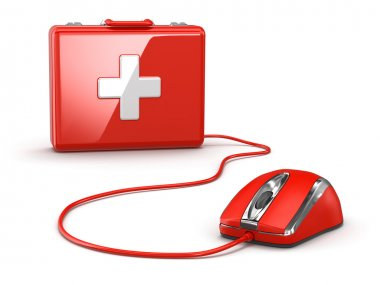 Online first aid. Mose and medical kit. 3d stock vector