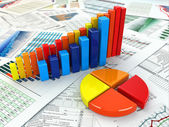 Business concept. Three-dimensional graph and charts.