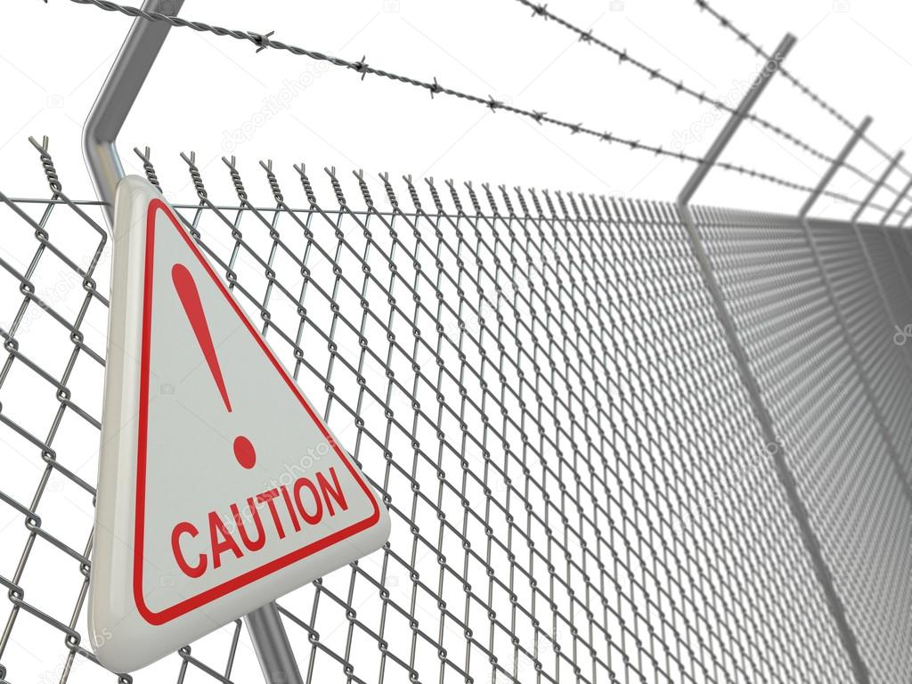 Caution. barbed wire fence with sign. — Stock Photo © maxxyustas ...