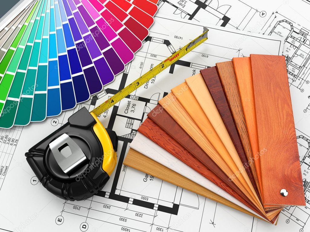 Interior Design Architectural Materials Tools And Blueprints Stock Photo Maxxyustas 35061977
