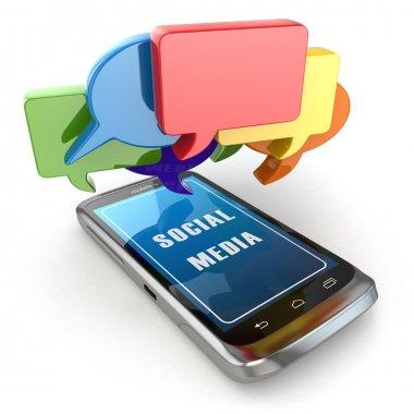 Mobile phone and social media speech bubbles. 3d stock vector