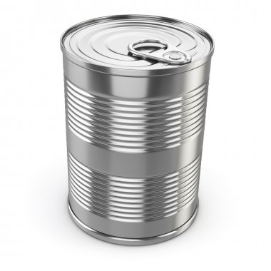 Food tin can on white isolated background.