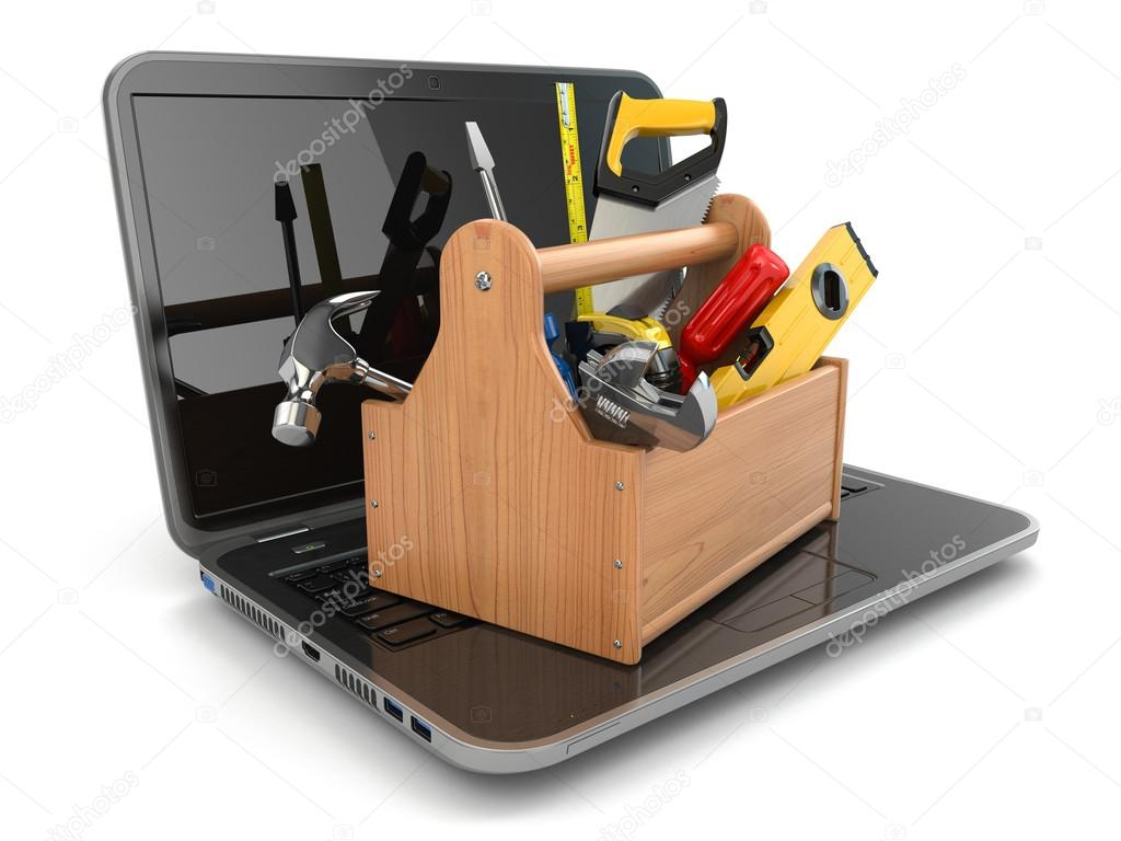 Online support. Laptop and toolbox.
