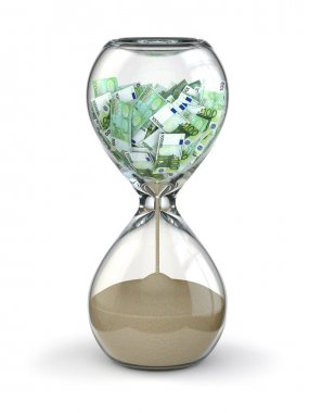 Time is money. Inflation. Hourglass and euro.
