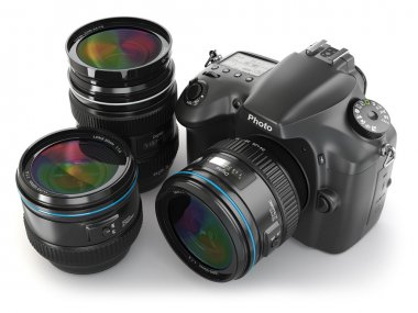 Digital slr camera with lens. Photography equipment.