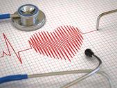 Fotografia cardiogramma stetoscopio ed ecg. concetto di medicina