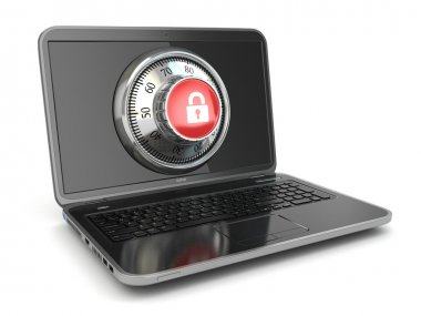 Internet Security.  Laptop and safe lock.