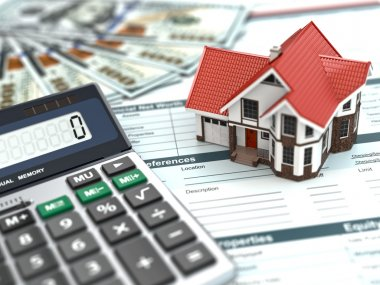 Mortgage calculator. House, noney and document.