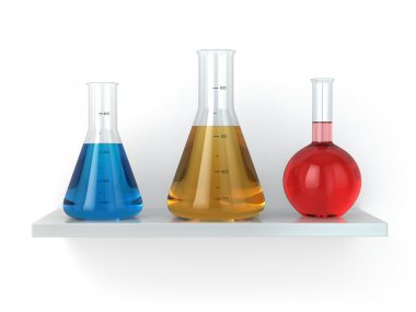 Chemical flasks on the shelf. Reagent in lab,