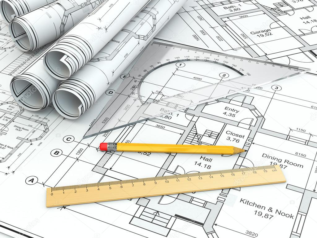 Concept of drawing blueprints and drafting tools stock photo blueprints and drafting tools 3d photo by maxxyustas malvernweather Choice Image