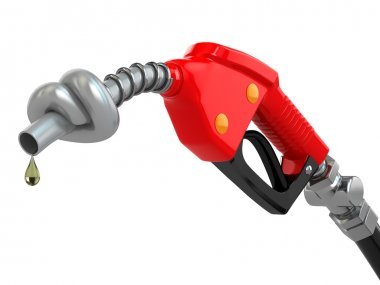 Knotted gas pump nozzle.