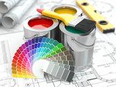 výstavba. plechovky barvy barvy paletu a štětec.