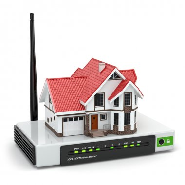 Home wireless network. House on wi-fi  router.