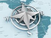 navigace podepsat nebo kompas na politickou mapu.