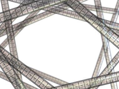 Movie concept. Film strips on white background.