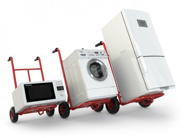 Appliance delivery. Hand truck, fridge, washing machine and micr