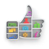 jako. pojem sociální média. palec nahoru a ikony apps.