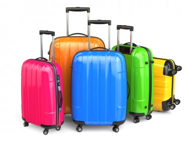 Luggage. Colorful suitcases on white isolated background.