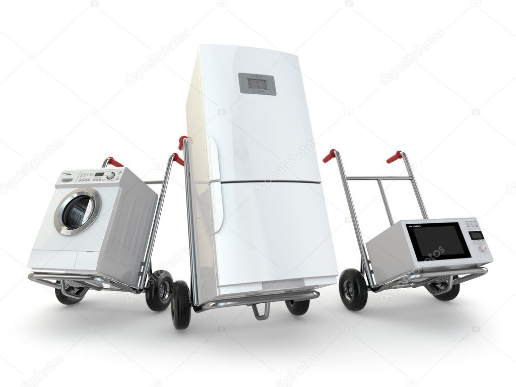 Appliance-Lieferung. Sackkarre, Kühlschrank, Waschmaschine und micr ...