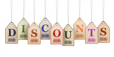Discount tags on white isolated background.