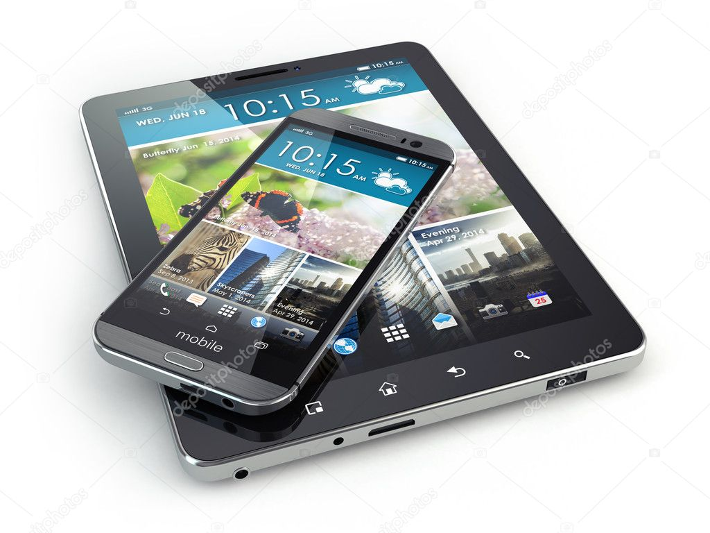 Mobile devices. Smartphone and tablet pc on white isolated backg