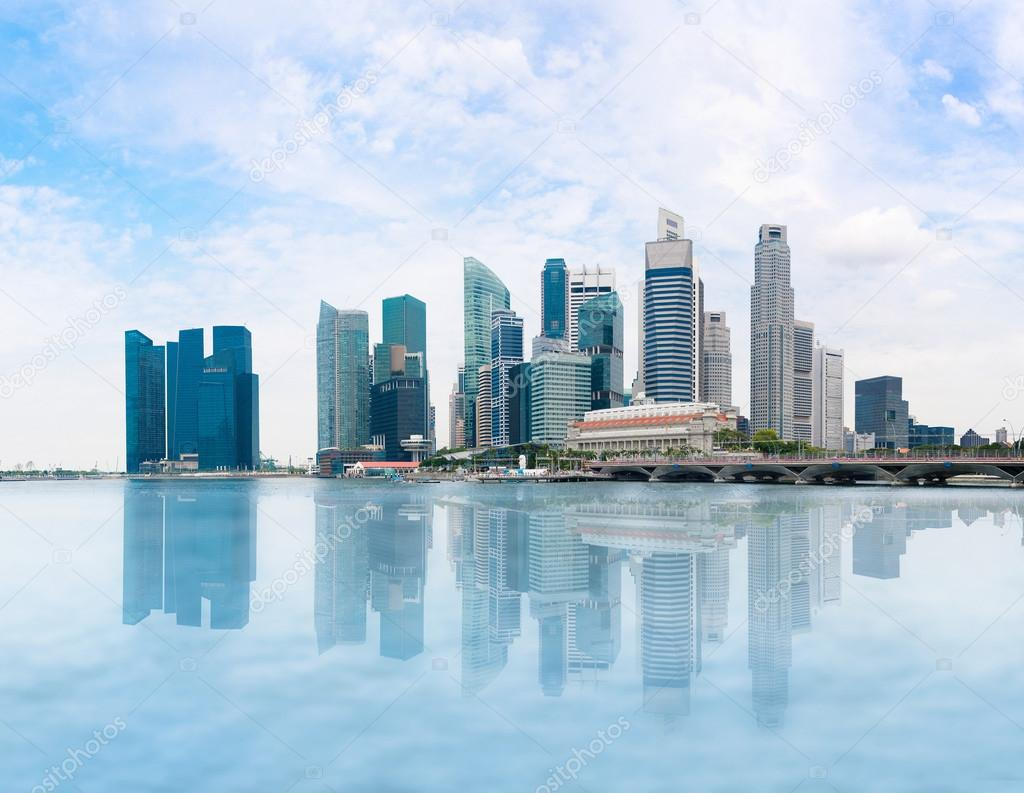 Singapore skyline and Marina Bay in day