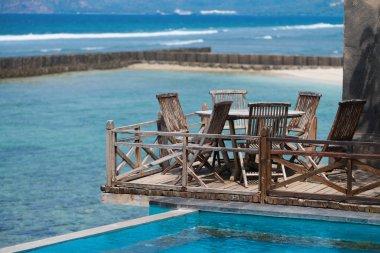 Wooden terrace on the beach