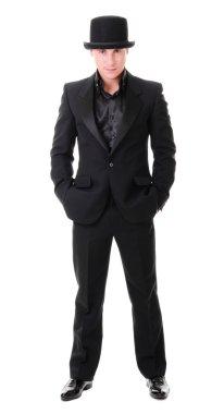 Elegant full-length young man in black suit