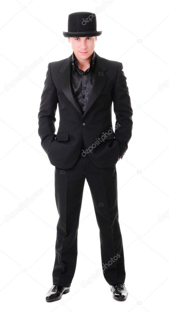 elegante joven cuerpo entero en traje negro — Fotos de Stock ... 34e047587a6