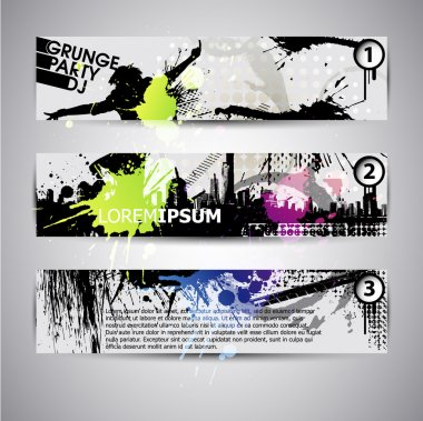 set of three banners, abstract headers with grunge blots. Grunge
