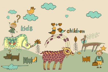 Set of children's items clip art vector
