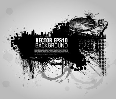 Grunge banner with an inky dribble strip with copy space