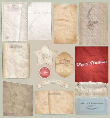 digital scrapbooking kit: old paper - different aged paper objec