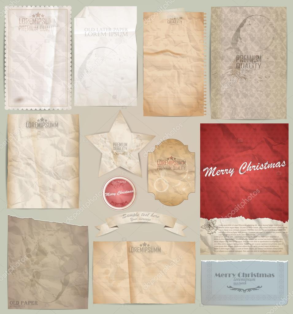 digital scrapbooking kit: old paper - different aged paper objec