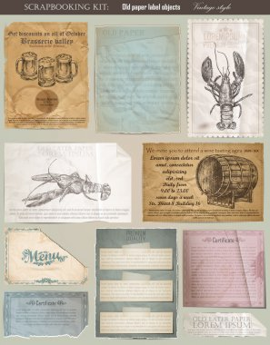 Scrapbooking set. old paper textures: different aged paper objec