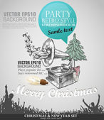 Grunge banner in retro style for Christmas with copy space. Abst