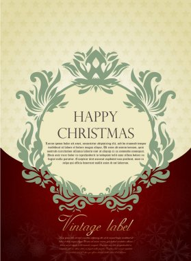 Gold Christmas greeting card in vitage style
