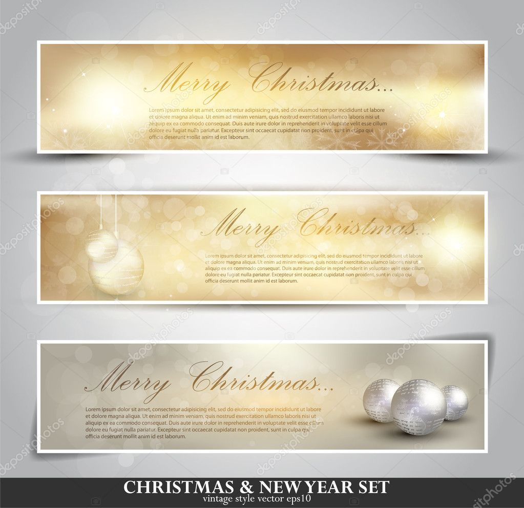 set of three seasonal bokeh banners with snowflakes in gold back