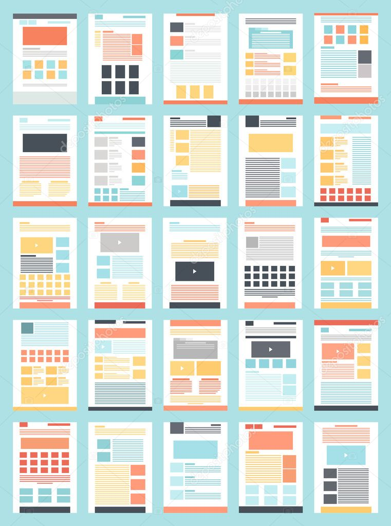 Collection of flat website templates