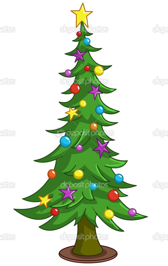 Arbre de Noël avec sapins et décorations — Image ...