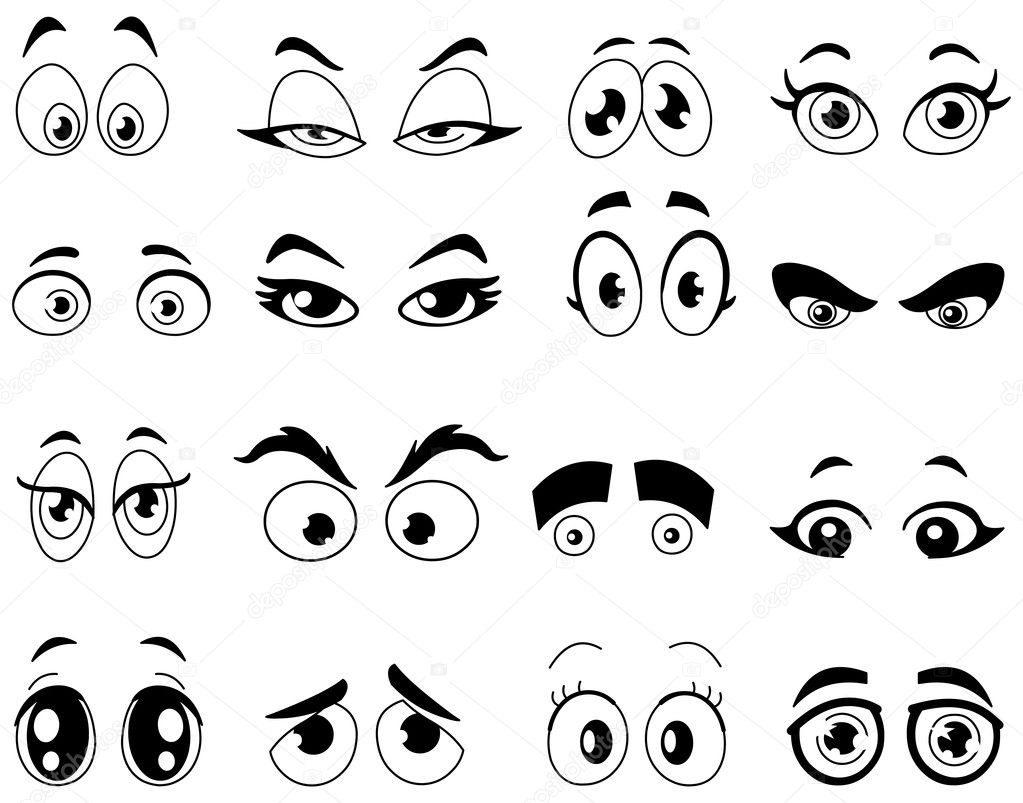 Outlined cartoon eyes