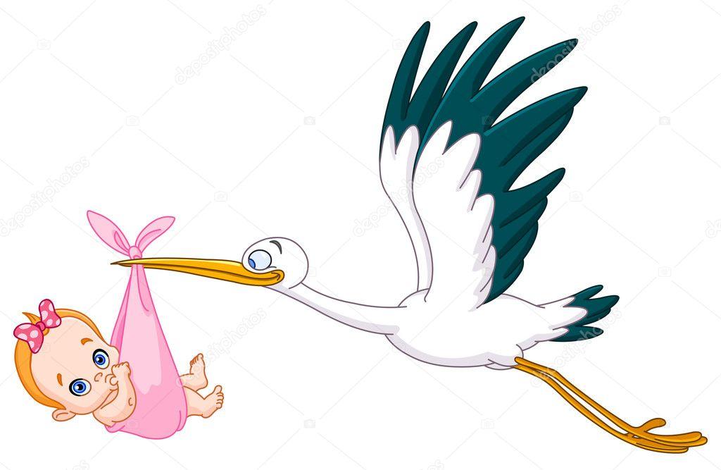 Cigüeña Y Bebé Niña