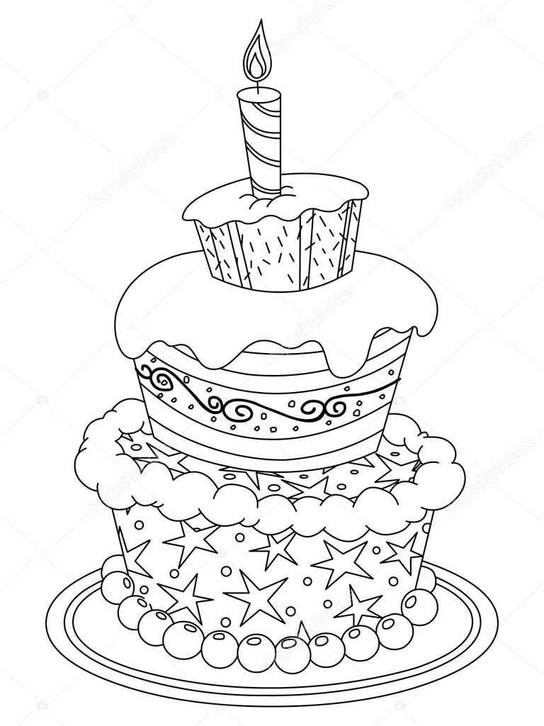 Seviyelendirilmiş Doğum Günü Pastası Stok Vektör Yayayoyo 44521455
