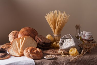Still life with bread, pasta and wheat stock vector