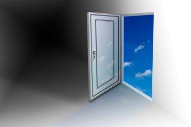 Doorway opens to sky stock vector