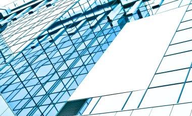 blank billboard over glassy building texture
