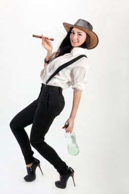 Woman jeans wearing