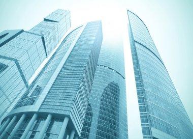 Tall glass skyscraper, urban landscape stock vector