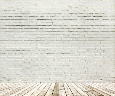 Background of aged grungy textured white brick and stone wall wi